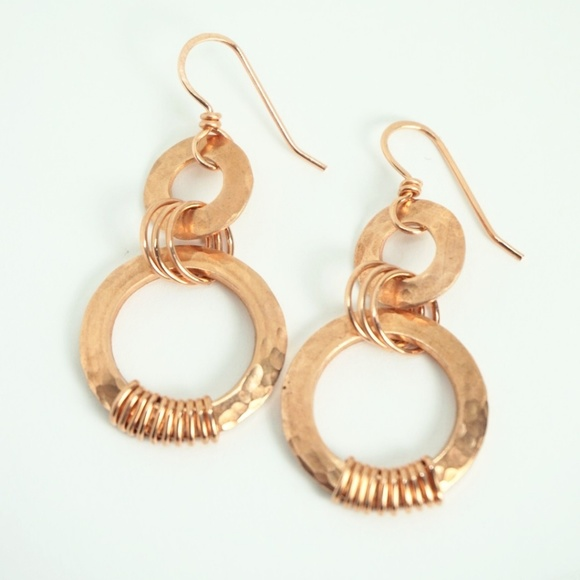 Handmade Jewelry Wirewrapped Hammered Copper Washer Earrings